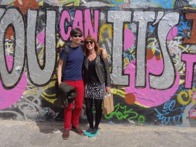 Tara & I @ Mauerpark, in front of an old section of the Berlin Wall.