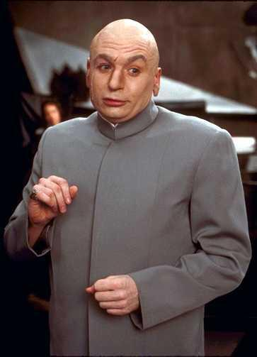 DR. EVIL  Dr. Evil's costume is basically a variation on the infamous Kim Jong-Il tracksuit so it's instantly recognizable, but it's also in perfect contrast to Austin Powers' swinging and colorful fashion.  Austin Powers (1997), directed by: Jay Roach, costume design by: Deena Appel
