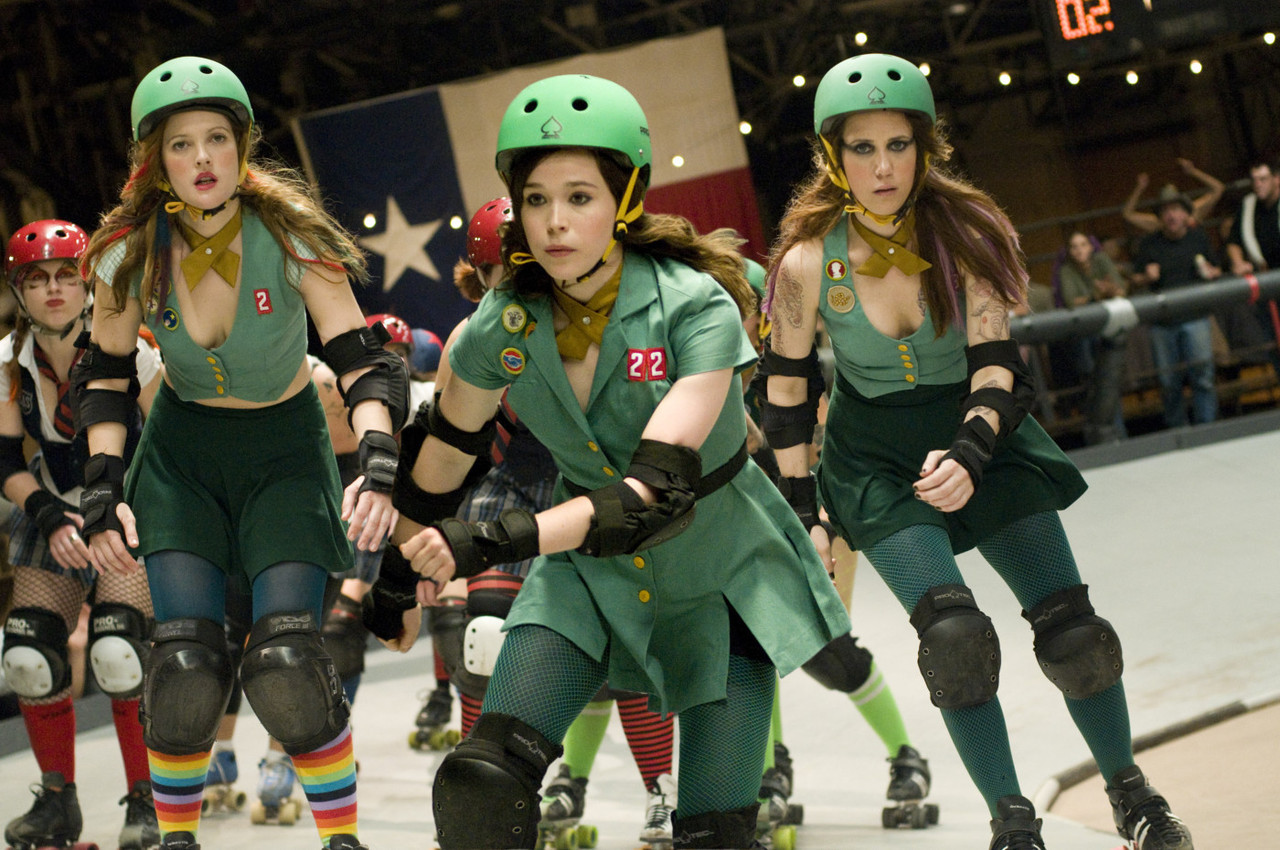 THE HURL SCOUTS Roller Derby has no real guidelines regarding uniforms, so each of the Hurl Scouts can wear a slightly different and personalised version of the modified Girl Scout dress. Whip It (2009), directed by: Drew Barrymore, costume design by: Catherine Marie Thomas
