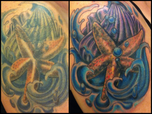 Another before / after.  Pre existing piece had a failed coverup attempt- Revamped and added bubbles/details to help fix