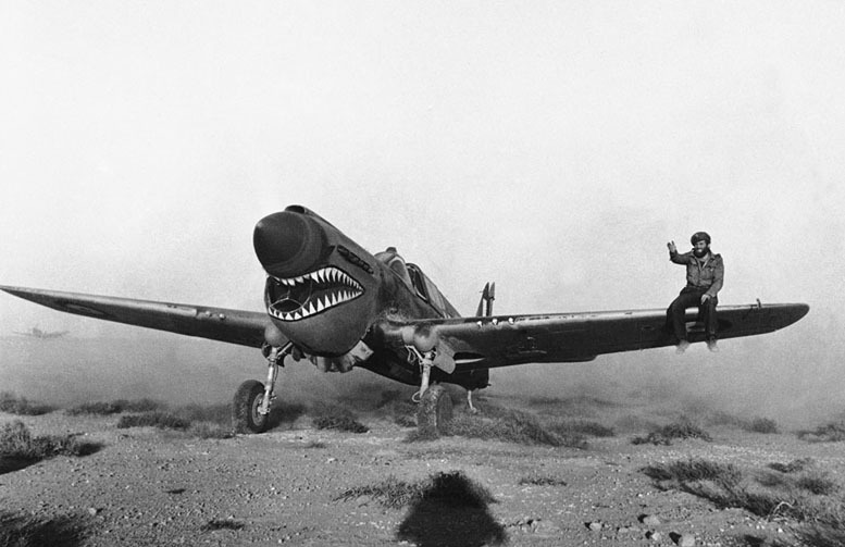 WW2 British pilot during Libyan sandstorm, April 1942