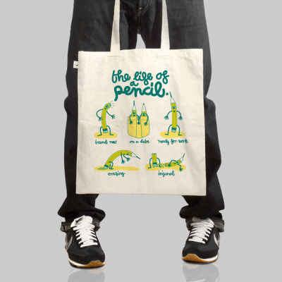 Tim Easley created the Life of a Pencil Tote from his hilarious artwork. Grab one of these for $25 through his web site. Original Article