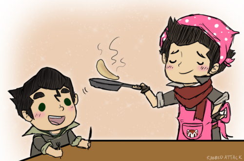 "korrashorts:  rabbidattack:  Mama Mako: ""Who wants pancakes??"" Bolin: ""I DO!"" Sorry, I just had to draw Mama Mako xD  SO PRECIOUS"