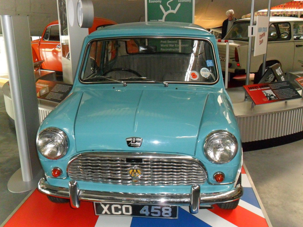 Austin Mini Mk1 on display at RAF Cosford Cold War exhibition, showing the difference between the Western economies in the Cold War and the USSR .