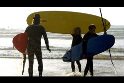 Surfers and stand up paddle-boarders at Fistral beach, Cornwall. Proof that surfers and SUP'ers are usually good friends…on the beach. Photog Gareth Davies