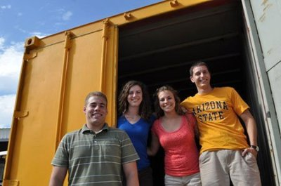 A team of four Arizona State University students is producing its first two portable clinics, modified freight shipping containers outfitted with medical supplies; on- and off-grid power hook-ups; ventilation; insulation; access to potable water; and optional add-ons like solar power and air conditioning. One of the clinics, a maternity suite promised to the nonprofit Sustainable Resources Limited, will be stocked and shipped to Kenya with birthing supplies and beds for two mothers.   Arizona State Students Are Upcycling Shipping Containers into Health Clinics - Design - GOOD Previously on Unconsumption: Containers To Clinics.
