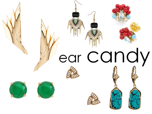 A great pair of earrings can make a simple t-shirt or maxi dress look like you put some effort into your look. These pieces are mini works of art— total ear candy.  ASOS Gold fan earrings // Dorothy Perkins spike drop earrings // ModCloth gumball glamour earrings // Kate Spade gum drop studs // Forever 21 Irridescent Triangle earrings // Dara Ettinger Turquoise drop earrings