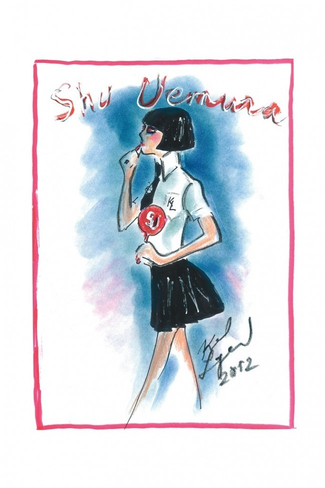 Karl Lagerfeld created Mon Shu character for Shu Uemura's upcoming Holiday line to hit shelves in October.  Styleite reports how they will launch 17 pieces including lipsticks, nail polishes, eyeliners, false lashes, eyelash curler with a red silicon replacing the typical black one and more.   Lagerfeld has told WWD why he is excited about the collaboration since he uses their eye shadow colors for his sketches and how it's better than pastel.  How chic?  Can't wait to check out the collection and to even try some sketches with eye shadow.  And who says you can't play with makeup?    Related articles Karl Lagerfeld 'Invented His Own Manga' for His Shu Uemura Makeup Line (fashionista.com) Beauty Quickie - Top Picks for Summer Makeup (amuseboucheblog.com) Beauty Quickie - Cat Eye and bold lips (amuseboucheblog.com) Beauty Quickie - Hotels are upgrading the beauty products in… (amuseboucheblog.com) Watch: Cartoon Karl Lagerfeld Gives Us a Sneak Peek at His New Shu Uemura Cosmetics Collab (fashionista.com)
