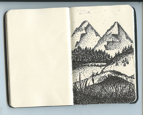 "Mountains - ink I had a significant amount of time to kill during work, so I experimented with my own modern ""pointillism"". So many DOTS!"