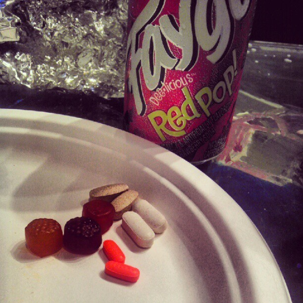 Faygo and a handful of vitamins, breakfast of champions. #Faygo #Detroit #identity #festival #edm  (Taken with Instagram)