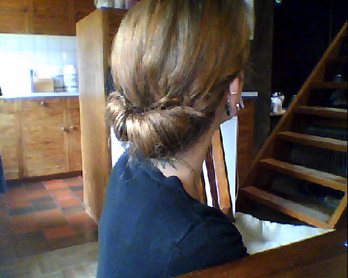 Today's hair : A simple Gibson roll :)