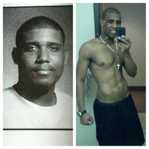 Fat me and skinny me. 320lb me 180lb me. #killfatme #crossfit #weightloss #nosugar #rowing #paleo #running #pose.  (Taken with Instagram)