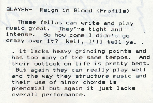 A review of Slayer's masterpiece written by Shane Navoy, scanned from This Zine Sucks #5 from 1987. Published by Bob Conrad, West Trenton, NJ.