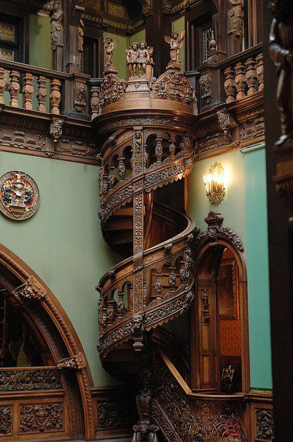 bluepueblo:  Wood Carved, Spiral Staircase, Peles Castle, Romania photo via kingray