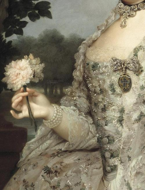 Detail of a Portrait of Maria Luisa as Princess of Asturias, in the gardens of Aranjuez, by Anton Raphael Mengs (ca. 1766).