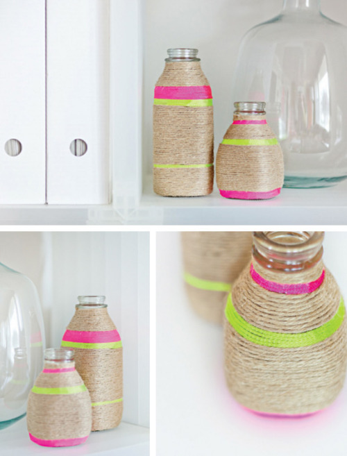 DIY neon string wrapped vases, via Oh! Crafts