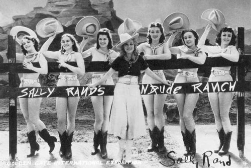 """Fort Worth, 1936. Famed burlesque queen Sally Rand is invited to town to stage what will become the most popular show at the Frontier Exposition: Sally Rand's Nude Ranch.""   Click through to see more nude ranch basketball and other authentic ranching activities. (Although, really, it looks like ""boob ranch"" would have been a more accurate name.)"