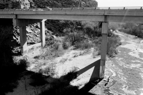 River and bridge, Pentax k-1000, Tri-X, 28mm.  Somewhere near Victorville, CA