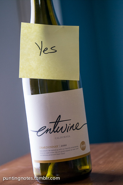 Entwine, Chardonnay California 2010 Yes! And I was a little afraid of this one. This is a wine forged from the partnership of Wente Vineyards and the Food Network.  Yes that's right the Food Network is now I guess tastemakers in the wine scene.  So is this designed by committee?  In any case it's a nice wine, very drinkable and not too expensive. $12 at Cosentino's Market in Brookside. You can read the story here. http://www.entwine-wines.com/