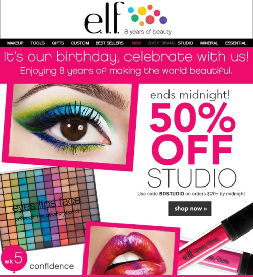 Elf is running their 50% off the studio line sale again today, through midnight. Check it out. Pick up some brushes for $1.50 each, I use mine every day! eyeslipsface.com