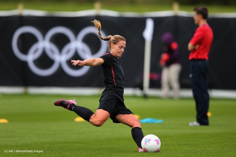 Christie Rampone of USA women's Olympic football team in action during a training session ahead of the Olympics