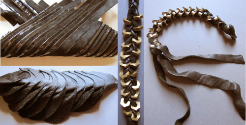 Leather project!!  Leather accesories, creating new textures and design system… TOok different leather stripes and try to merge then into a new material, used varnish ( as a veneer) on the leather and used both sides of it to work together…and also added a few nuts to give the feeling of jewelry..