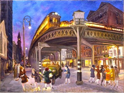 John Sloan, Sixth Avenue Elevated at Third Street, 1928. Party flappers!