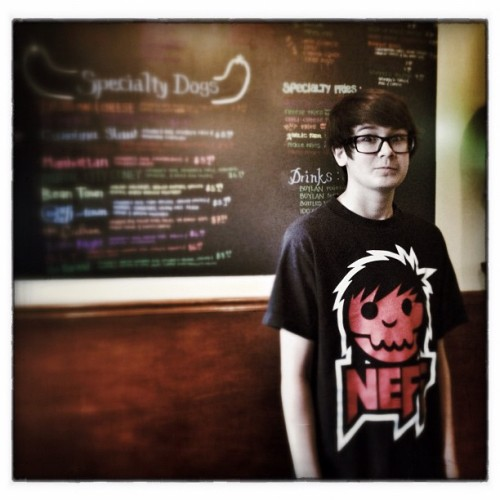 Cole at #Stuggys in #Baltimore getting #fancy #delicious #hotdogs for #lunch #fellspoint #Maryland (Taken with Instagram at Stuggy's)