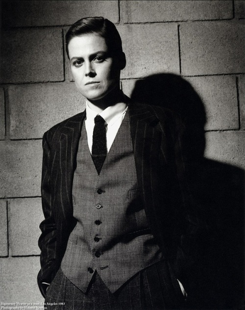 Sigourney Weaver in 1983. Sigourney Weaver today. Now go have your weekend. Photo by Helmut Newton