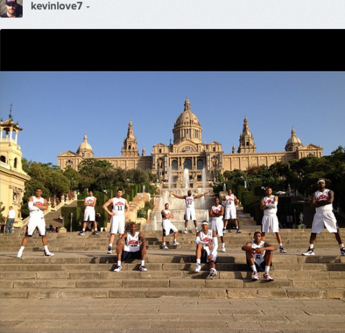 A pretty sweet photo of Team USA in Spain via Kevin Love's instagram. Funny thing is, clearly KLove didn't get the crossed arm memo.