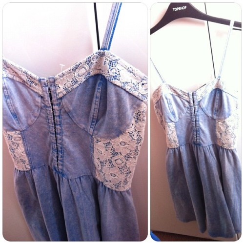 New dress ❤ #acidwash #topshop #dress #fashion #lace #denim (Taken with Instagram)
