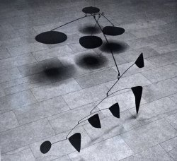 Happy Birthday Alexander Calder! From our website:  Calder's interest in movement appeared early in his figurative wire sculptures, which have a playful, mechanical sensibility akin to wind-up toys. Some of his subsequent abstract sculptures are operated with cranks and pulleys, but his real breakthrough came with his invention of hanging sculpture. Calder's mobiles consist of abstract shapes connected by wires and move freely with the air currents in a room.  Pictured: Calder's Four Big Dots (1963)