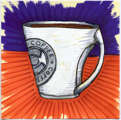 "I drew you a logo mug of coffee • coffee Just decided to try and draw an interesting mug that had an area of the mug curve inward so your hand could fit between the handle and the mug. Then I made up a COFFEE • COFFEE emblem to put on the side of it. On top of all that I also wanted to do something different for the background because I felt like I was doing the typical Green and Blue too much.  I hope you like it. This is part of my ""The Daily Coffee"" marker drawing series."