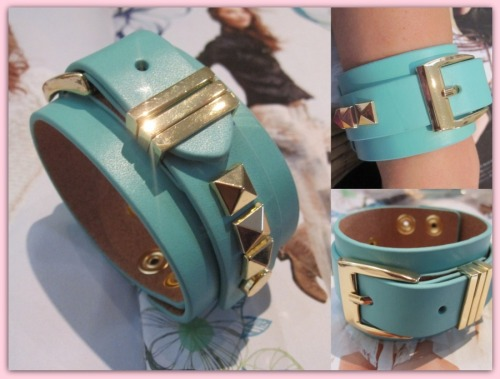 mimiboutique:  Alejandra Leather Stud Buckle Bracelet in Turquoise