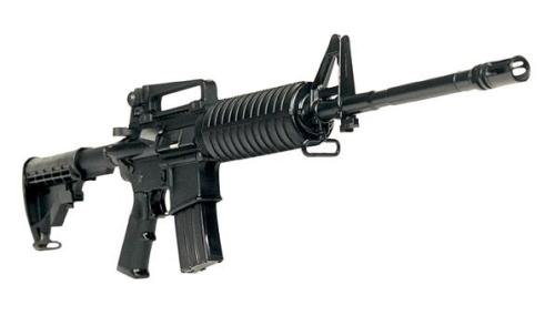 This is, essentially, the assault rifle (edit h/t theblueprint) used in the bank robbery scene in Heat.  Willing to concede that we should have a national discussion that this gun should not exist in the hands of anyone except the US armed forces and movie actors. It is impossible to reason that any Joe Blow should be allowed to buy one of these.