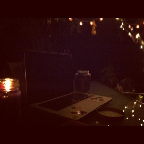 #lastnight #deck #laptop #lights #tree #dark #backyard #peaceful (Taken with Instagram)