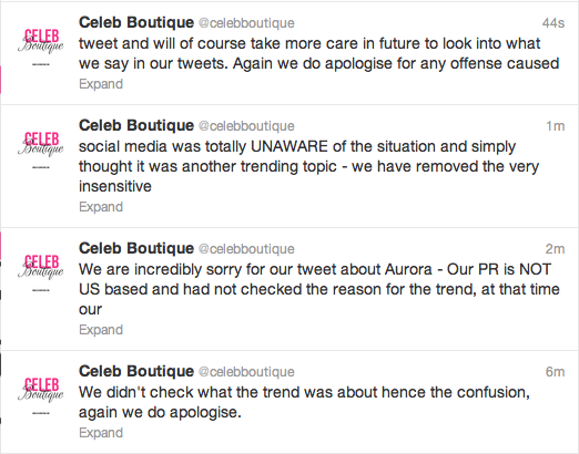 More from @celebboutique re: their incredibly insensitive tweet. Also: