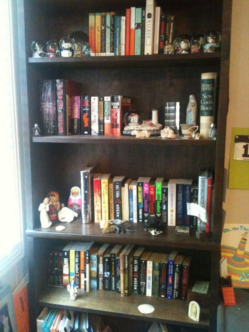 Second shelf is entirely Stephen King.  Once I finish a book, it goes on one of the shelves!