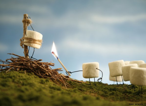 collegehumor:  Marshmallow Burned at the Stake  He preaches against the S'more doctrine. Burn him!