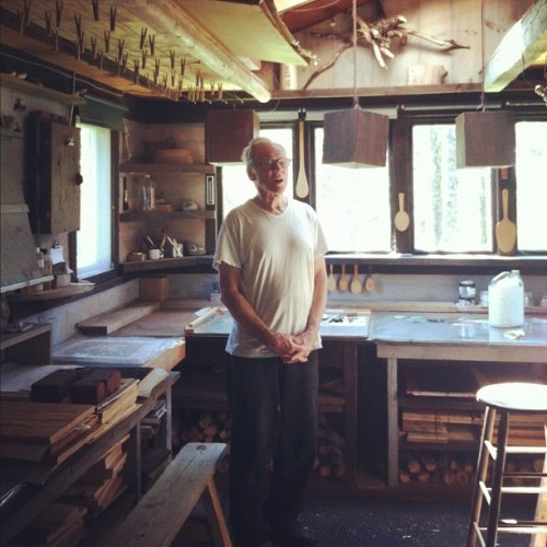 Dan Miller in his print studio in Maine. Almost everything in here was hand made, and filled with antique carving tools and different kinds of wood. The most wonderful woodcutting shop I've ever been in. Includes a wood burning stove and loft for sleeping.   (Taken with Instagram at Corea, ME)