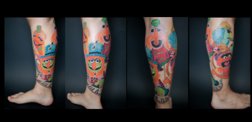The muppet band Electric Mayhem…done by Kelly, owner of The Tattoo Lady, Hammond, IN