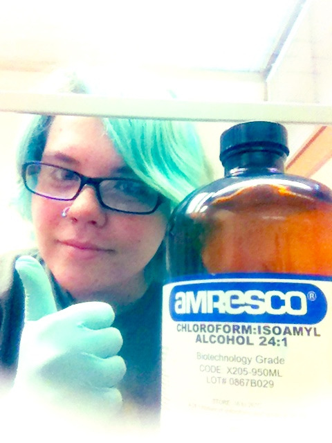 Me and the chloroform are BFF's. Also my gloves match my hair…