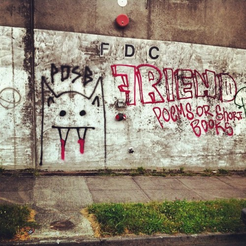 Poems or short books. #friend #vampire #sprays #tags #graffiti #streetart #wall #texture #portlandstreetart #pdx #nepdx (Taken with Instagram)