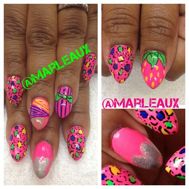 #nailart Summer bright, rainbow tight nails! I used @orlynails Beach Cruiser, my latest fav polish. #orly #nailenhancements #acrylicnails (Taken with Instagram at Palace Beauty College)
