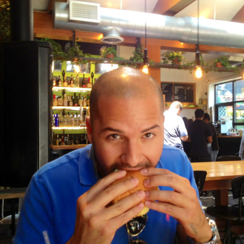 Me enjoying the cheeseburger at Soho Park, NYC.