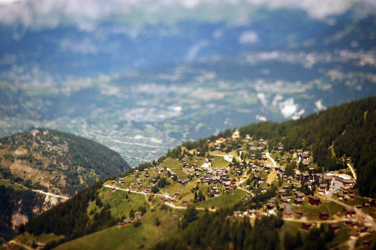 Model Chandolin village in the Swiss Alps. Shot with a tilt-shift lens.