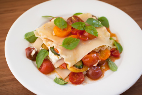 Heirloom tomato, squash and ricotta lasagna.