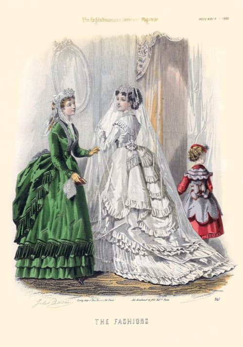 treselegant:  Bridal Fashion - 'The Englishwoman's Domestic Magazine' 1869.