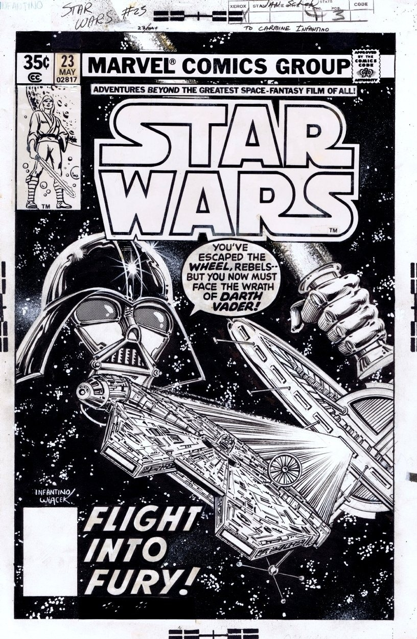 fumettimarvel:  tiefighters:  Flight Into Fury! The original artwork to the cover of Marvel Comics Star Wars #23 circa 1979 illustrated by Carmine Infantino (via comicartfans.com)  -