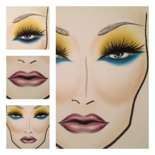 A facechart I did last night #facechart #mac #lashes #green #paintstick #electric #blue #purple #lip #contour #ilovemaciggirls  (Taken with Instagram at The Birdcage)